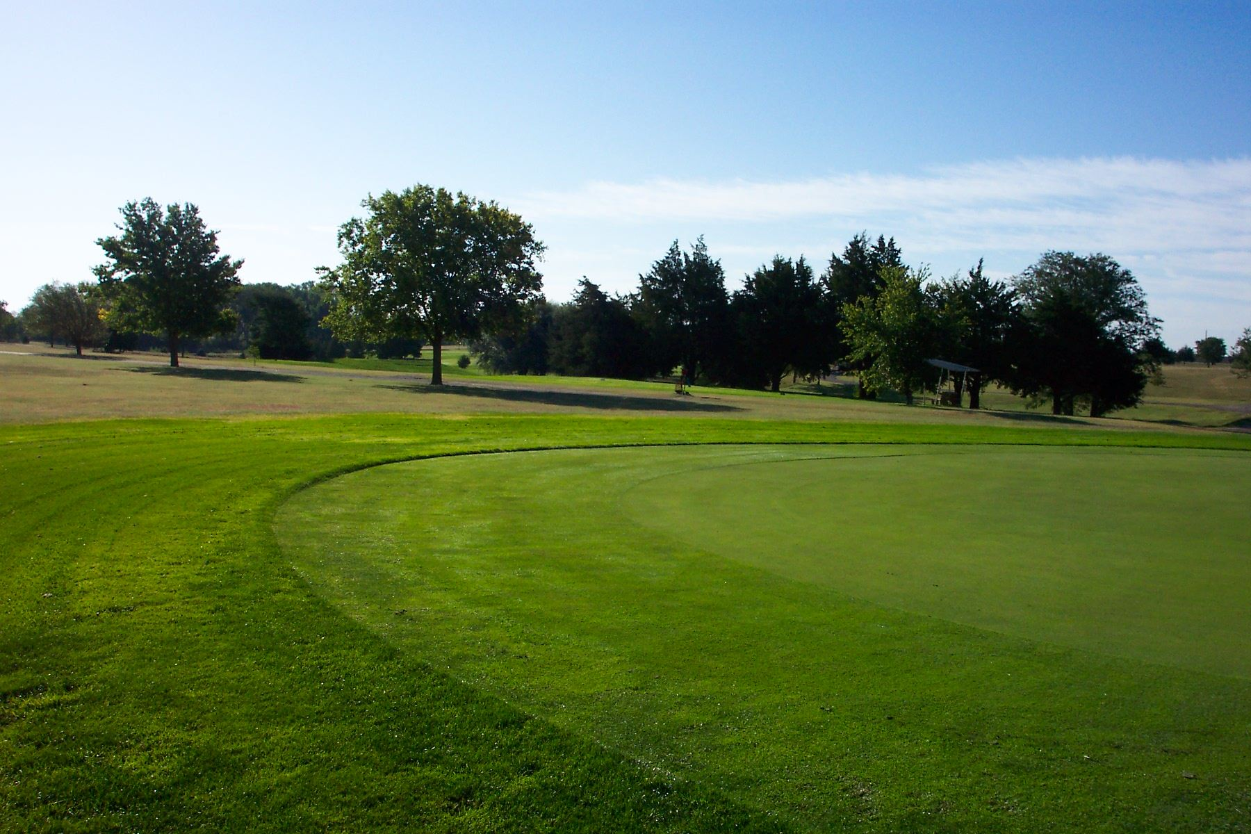 One of the greens at the Oakley Golf Course with trees in the background